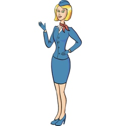 Cartoone beautiful stewardess in full growth vector