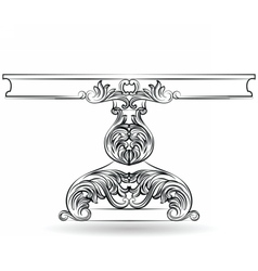 Rich baroque table with carved ornaments vector
