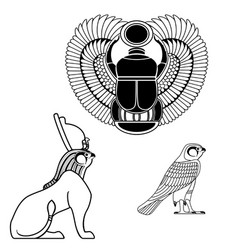 Set of egyptian ancient symbol vector