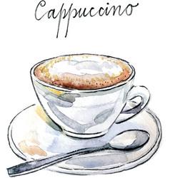 Watercolor coffee cappuccino vector