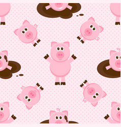 Seamless pattern with cute cartoon pink pigs vector
