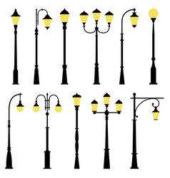 Set of street lamps vector