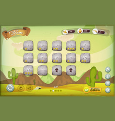 Desert game user interface design for tablet vector