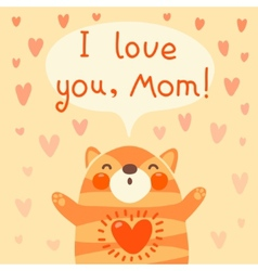 Greeting card for mom with cute kitten vector