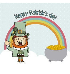 Patrick's day with rainbow and coins vintage vector