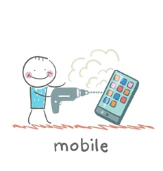 A man with a drill mobile vector