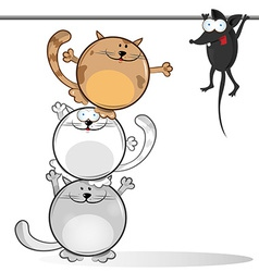 Fun comic cat with mouse vector