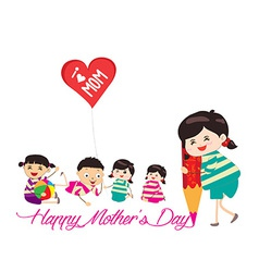 Happy mother day kid drawing with pencil vector