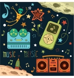 Set of musical and space elements vector