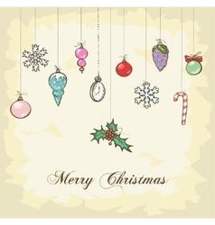 Vintage Christmas Card design vector image