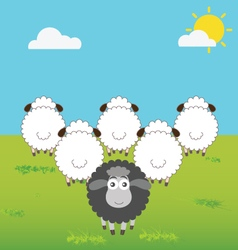Black sheep with difference thinking vector