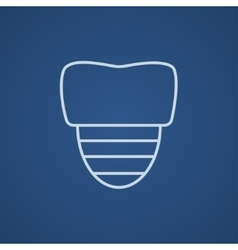 Tooth implant line icon vector