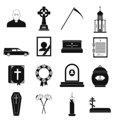 Funeral and burial black simple icons vector
