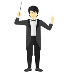 Conductor directing with his baton vector