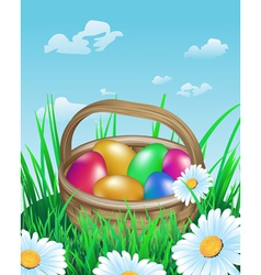 Colorful easter eggs in basket on meadow vector