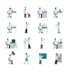 Scientist decorative icons set vector