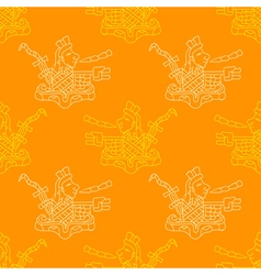 Seamless pattern with symbols from aztec codices vector