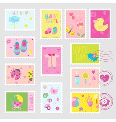 Baby girl stamps design elements vector