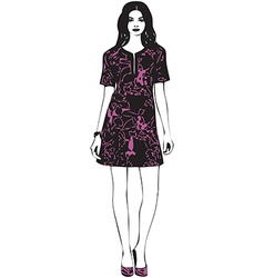 Beautiful young women in a fashion dress vector