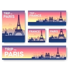 France landscape banners set design vector