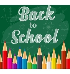 Back to school background with rainbow pencils vector