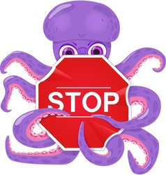 An octopus with a stop sign vector image vector image