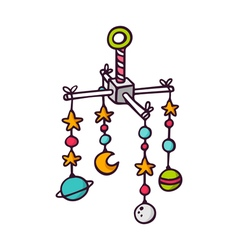 Baby crib mobile bright children isolated o vector