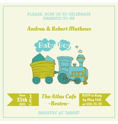 Baby shower card with baby train vector