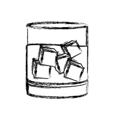 Blurred silhouette whiskey drink cocktail glass vector
