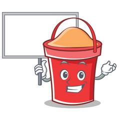 bring board bucket character cartoon style vector image