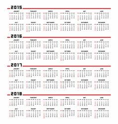 Calendar 2015 2016 2017 2018 vector