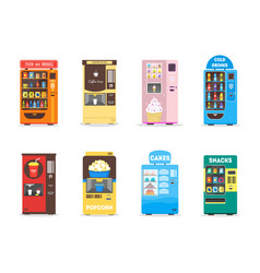 Cartoon vending machine set vector