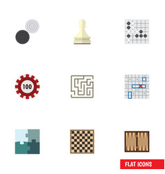 Flat icon entertainment set of labyrinth pawn vector