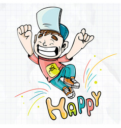 happy happy boy cartoon vector image