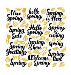 Hello spring handwritten lettering vector