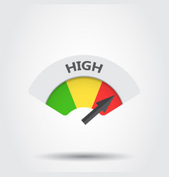 High level risk gauge icon high fuel on gray vector