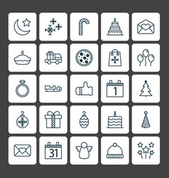 Holiday icons set collection of greeting email vector