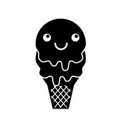 Kawaii sweet ice cream cold flavor fresh tasty vector
