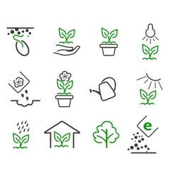 Line sprout and plant growing icons set vector image vector image