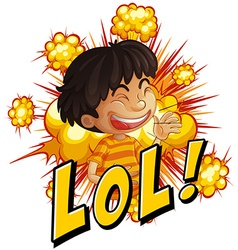 Little boy with wording laugh out loud vector