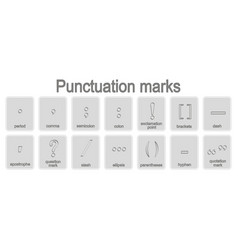 monochrome icons set with punctuation marks vector image