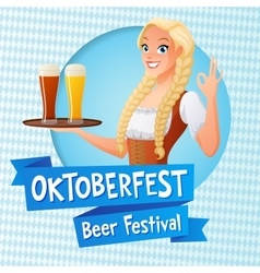 Oktoberfest card Cute girl in national vector image