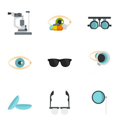 Ophthalmology icons set flat style vector
