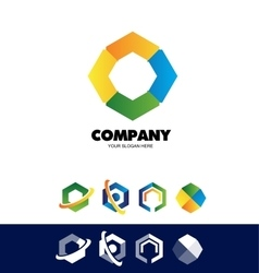 Polygon hexagon corporate logo vector