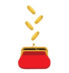 Red purse and coins vector image