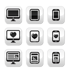 Responsive website design computer screen buttons vector image