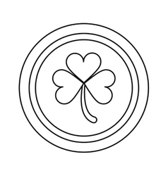 saint patrick day coin shamrock icon outline vector image vector image