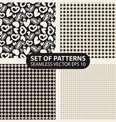 set of seamless patterns from cells and hearts vector image vector image