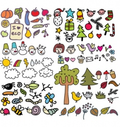 Sketched icons vector