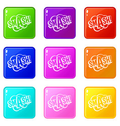Smash comic book bubble text icons 9 set vector